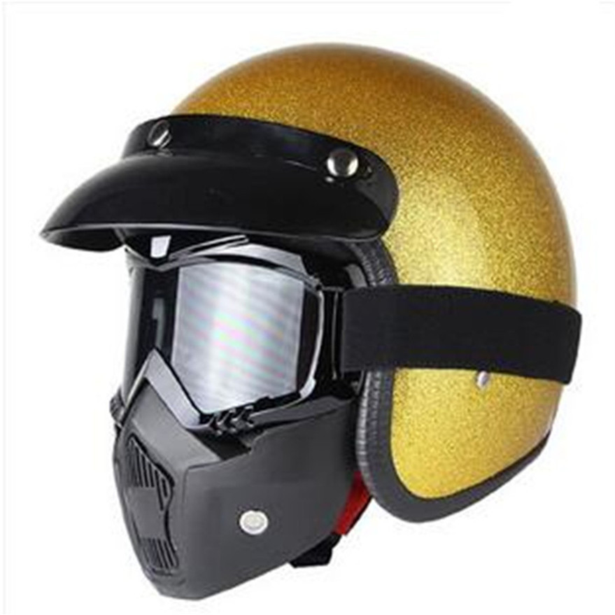 Gold shine beautiful Unisex Vintage Motorcycle Helmets Open Face Half Motorbike  Helmet Capacete free shipping S M L XL XXLGold shine beautiful Unisex Vintage Motorcycle Helmets Open Face Half Motorbike  Helmet Capacete free shipping S M L XL XXL