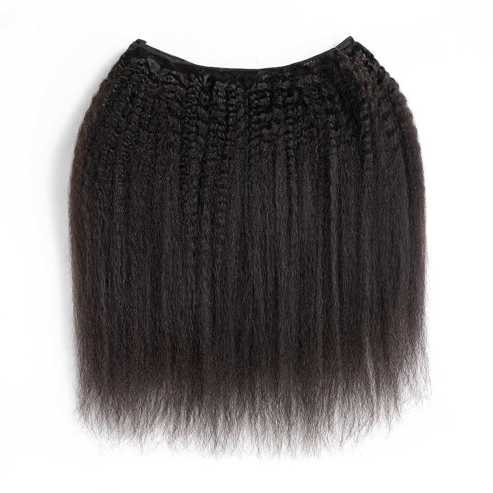 إلاريا الشعر البرازيلي الخشنة ياكي مستقيم الشعر حزم 1 قطعة 100% عذراء ريمي الإنسان الشعر ينسج حزم اللون الطبيعي
