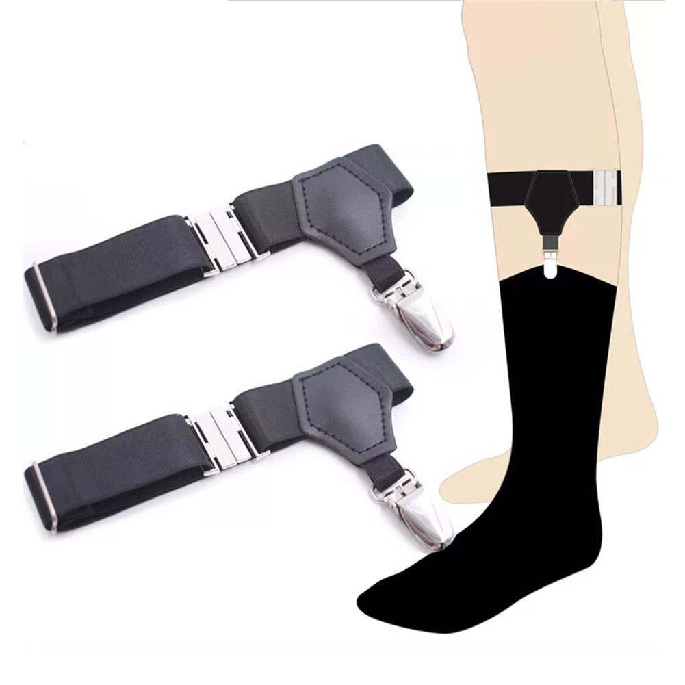 1 Pair Adjustable Garters Crease Resistant Elastic Non Slip Suspender Men Socks Stays Universal Lightweight Holder Outdoor