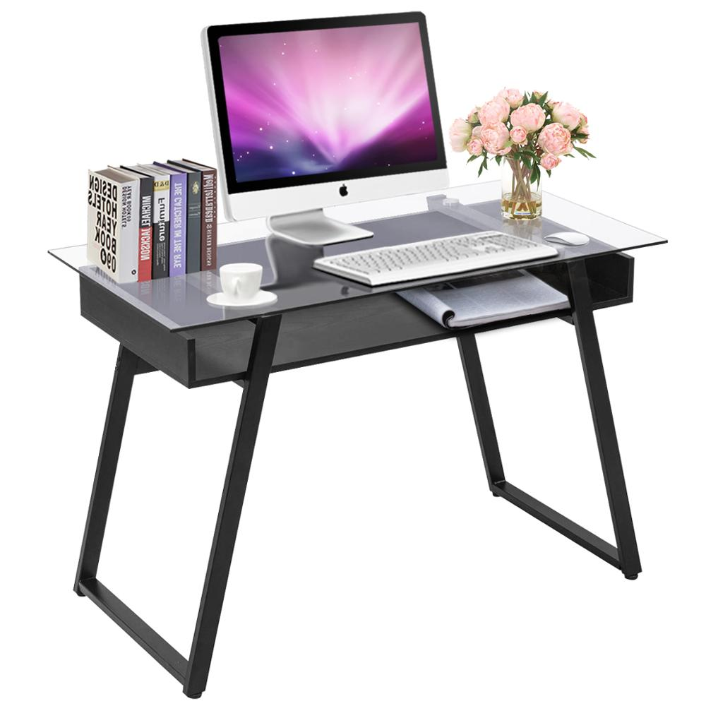 Giantex Modern Glass Top Computer Desk PC Laptop Table Writing Study Workstation With Wood Shelf Home Office Furniture HW56041