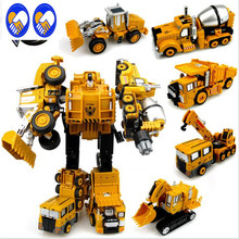 A Toy A Dream Transformation Robot Car Metal Alloy Engineering Construction Vehicle Truck Assembly Deformation Toy