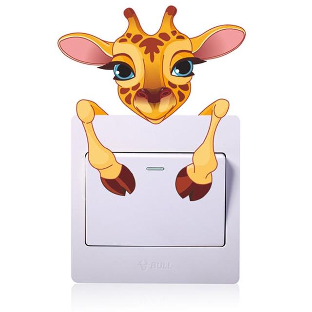 Cute Animals Elephant Cat Panda Giraffe Light Switch Sticker Removable Wall for Kids Baby Nursery Home Decal Mural Decor 5