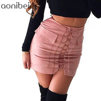 Hot Sale Womens Autumn Lace Up Pencil Skirt 2016 Winter Fashion Cross High Waist Mini Skirt