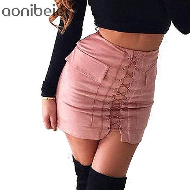 f1d6be0db8 Aonibeier Women Autumn Lace up Pencil Skirt Winter Fashion Cross High Waist  Fashion Split Bodycon Short
