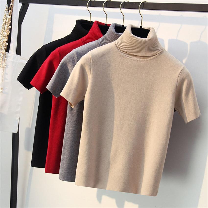 2020 Spring Knitted Tops Women Short Sleeve T Shirt Autumn Winter Turtleneck Pullovers T-shirt Tee Shirt Femme Tshirt Knitwear