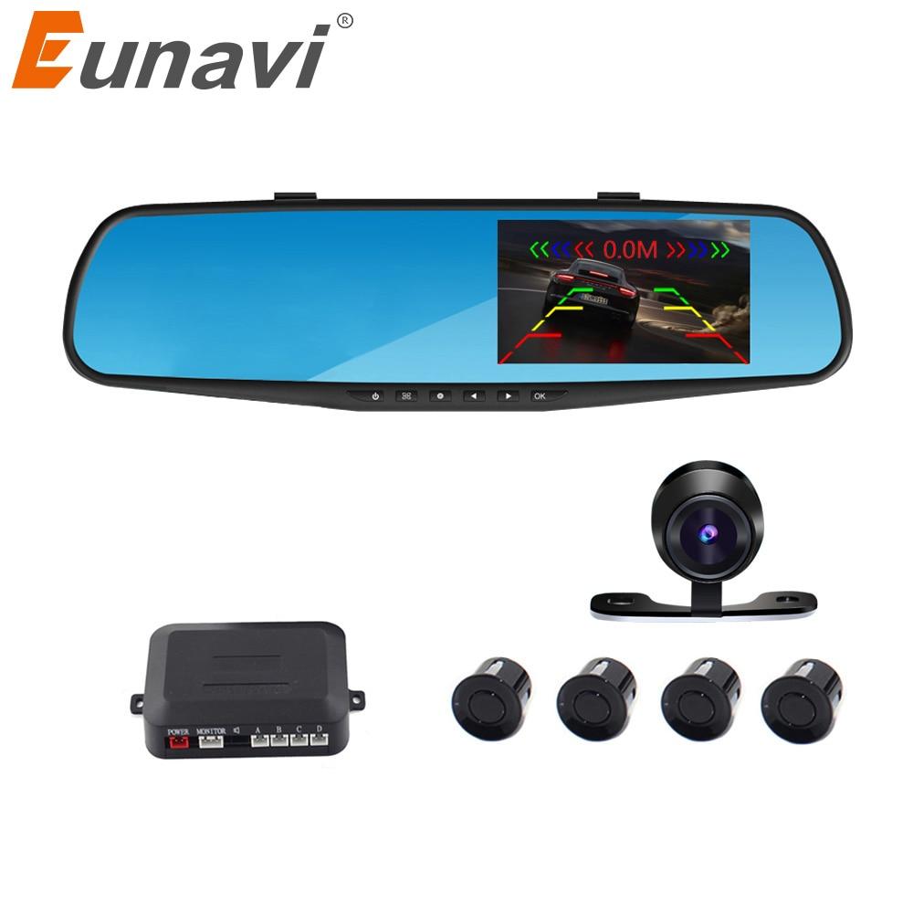 Eunavi Car parking reversing backup alarm security system car mirror DVR+rearview camera+4 parking sensors auto parking system