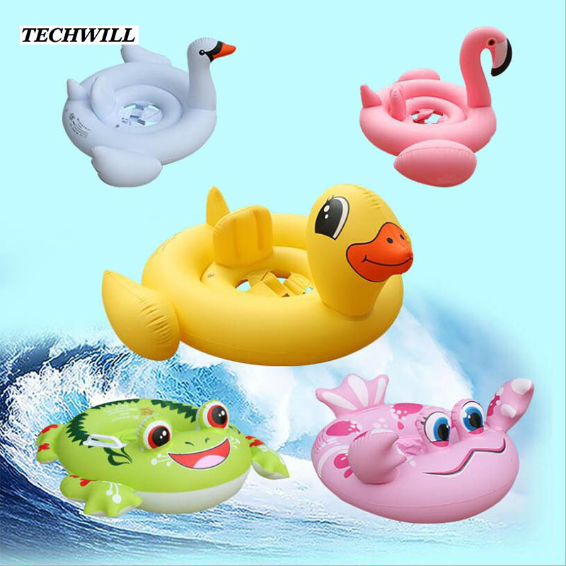 1- 6 Years Baby Swim Float Kids Inflatable Swimming Ring Seat Circle Floating Boat Flamingo Frog Children Swim Pool Accessories