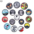 (DzIxY) 1 PCS Round UFO parches Embroidered Iron on Patches for Clothing DIY Stripes Stickers Astronaut Badges @Q