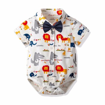 Boys Cartoon Rompers Dragon Lion Horse Print Summer Cotton Rompers Western Toddler Infant Kids Clothes