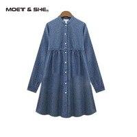 Hot Sale Winter Autumn Spring Show Thin Shirt Women Long Sleeved Blue Large Size Cowboy Dress Shirt D6N4135Y