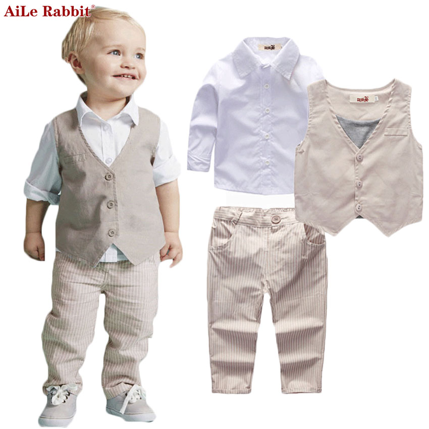 AiLe Rabbit Boys Clothing Sets Autumn Spring Shirt+Vest+Pants Boys Wedding Clothes Kids Gentleman Leisure Handsome Suit aile rabbit children s clothing suits for boys and girls classic camouflage outdoor suit autumn long sleeved shirt with pants