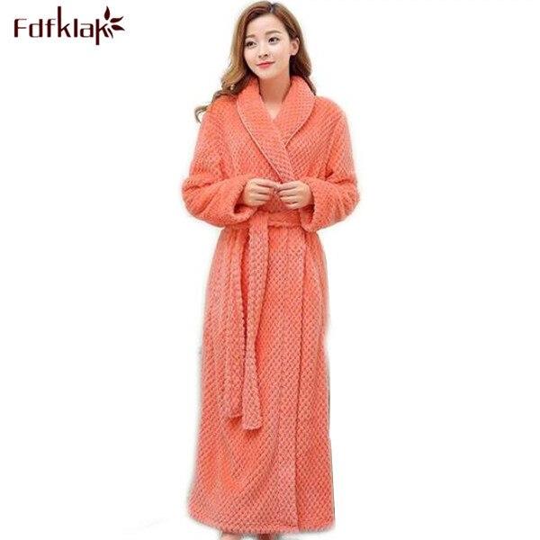 c65a5911b8 Fdfklak ladies long bathrobes Flannel long sleeve autumn winter robe Kimono  Bath Robe Dressing Gown black warm bathrobes Q398