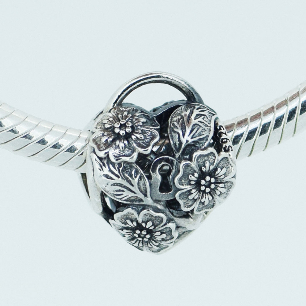 Fits for Pandora Bracelets Openwork Floral Heart Charms 100% 925 Sterling Silver Beads Free Shipping