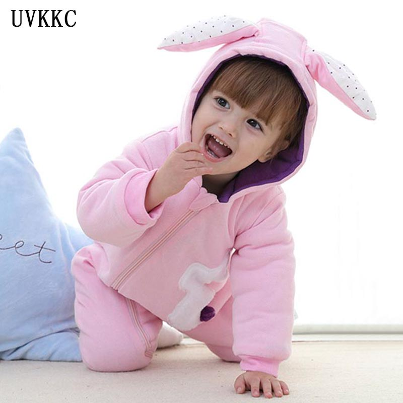 UVKKC ropa de bebe varon Newborn baby girls Rompers Cotton thickening baby Clothing Rabbit Clothes set Long Sleeve Pink Jumpsuit baby rompers cotton long sleeve 0 24m baby clothing for newborn baby captain clothes boys clothes ropa bebes jumpsuit custume