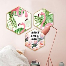 Nordic fresh flamingo bedroom wall painting living room background corridor mural Hotel decorative