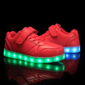 Image 5 - גודל 25 37 ילדי Led נעלי זוהר סניקרס ילד Krasovki עם תאורה אחורית USB אור עד נעלי סניקרס הזוהר עבור בני בנות