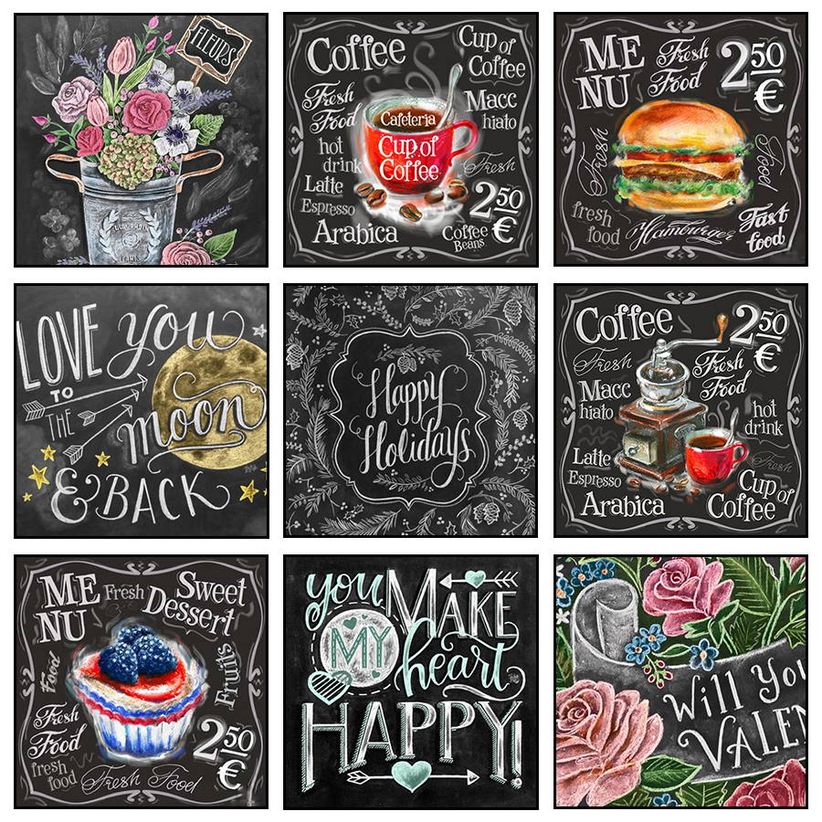 Flower Wall Decor Reversible Mosaic With Chalkboard: Diamond Embroidery 5d Painting Coffee Flower Food