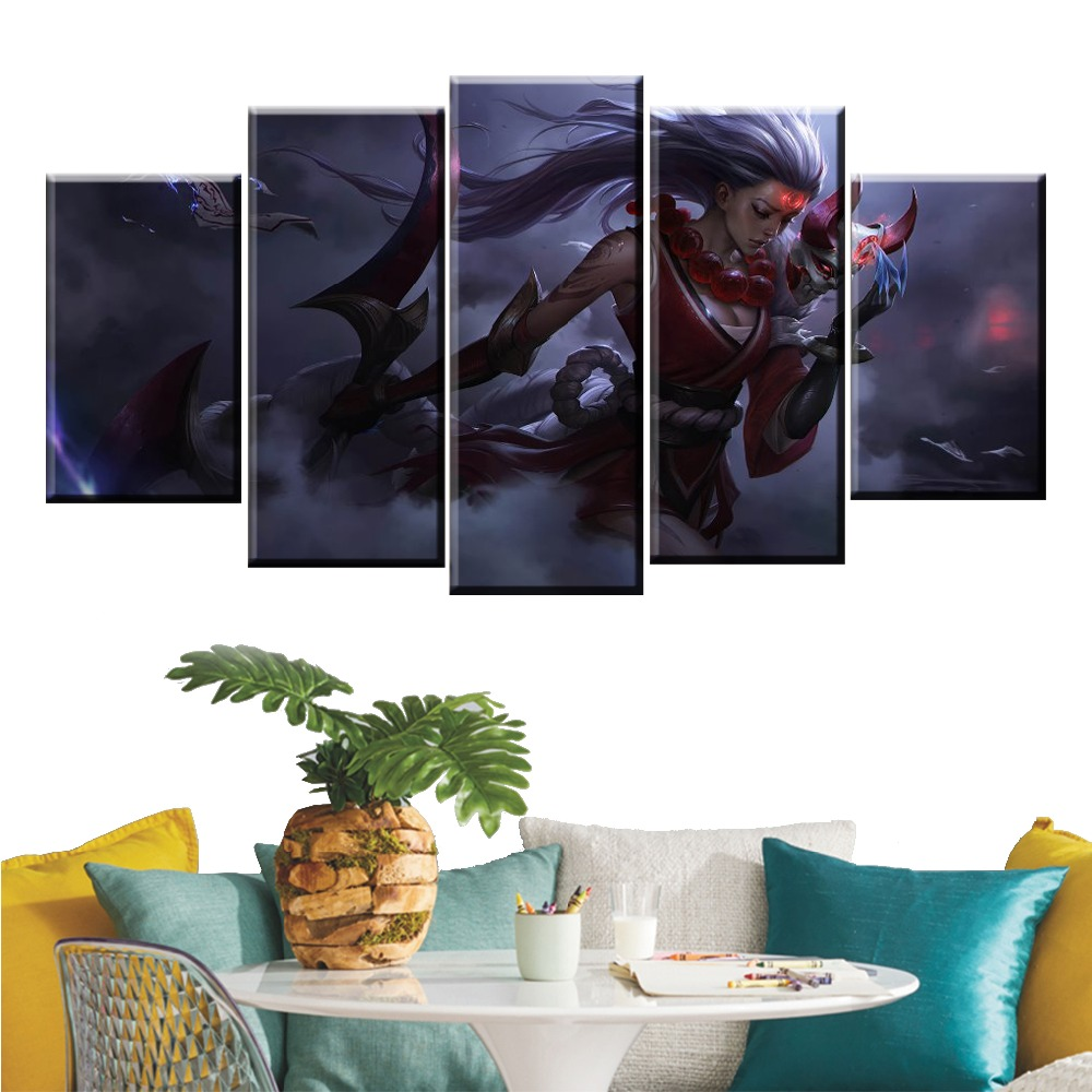 5 Panel LOL League of Legends BloodMoon Diana Game Canvas Printed Painting For Living Room Wall Decor HD Picture Artworks Poster