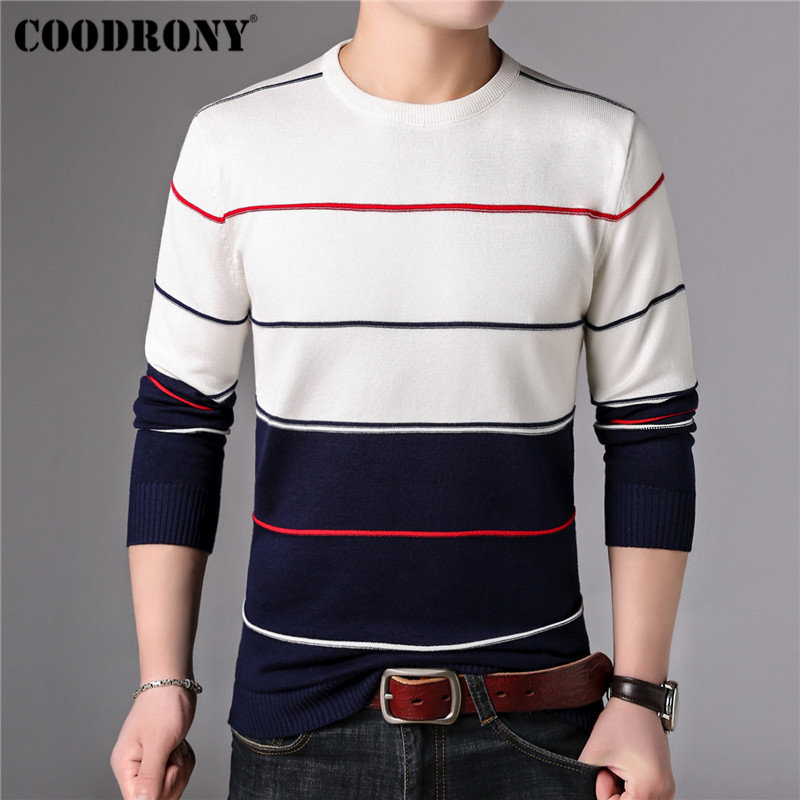 Image 3 - COODRONY Casual O Neck Pull Homme Cotton Sweater Men Clothes 2018 Autumn Winter Soft Wool Pullover Men Long Sleeve Knitwear B015-in Pullovers from Men's Clothing