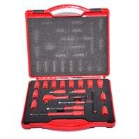 18 PZ 1000 V isolati VDE tools 1/4 cricchetti Zoccoli della chiave Set T-Handle Estensioni Punte Esagonali Sockets Resistente ad alta tensione