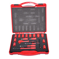 18PCS 1000V VDE insulated tools 1/4 ratchets wrench Sockets Sets T Handle Extensions Hex Bits Sockets Resistant to high voltage