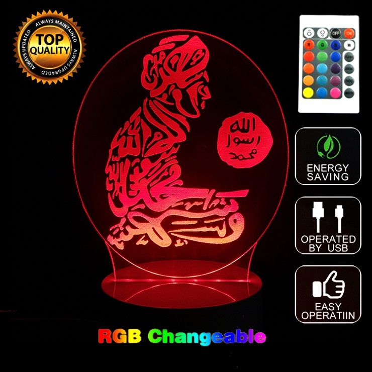 Hot 3D Led 7 Color Changing Table Night Lamp God Allah Bless Arabic Light Muhammad Islam Belivers Gifts Kids Bedroom Light Decor 3d fire engine modelling table lamp 7 colors changing fire truck car night light usb sleep light fixture bedroom decor kids gift