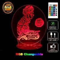 Hot 3D Led 7 Color Changing Table Night Lamp God Allah Bless Arabic Light Muhammad Islam