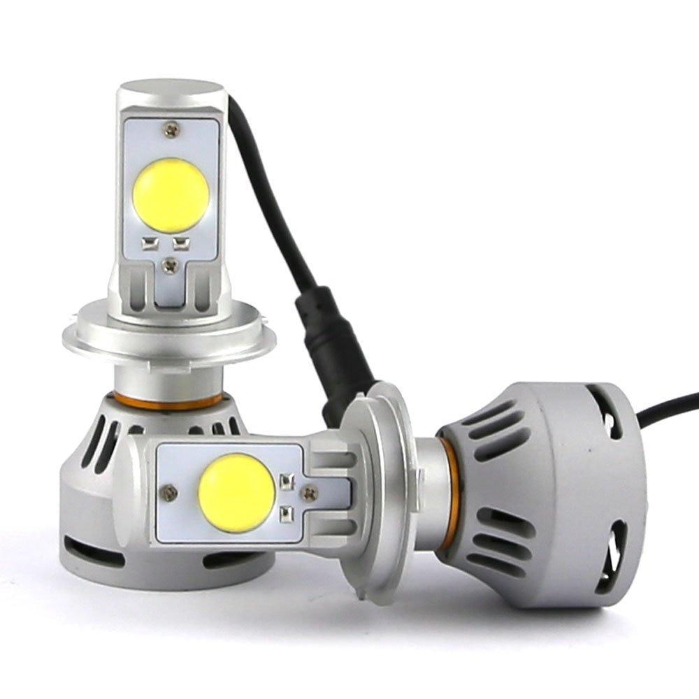 72w High Power Ultra Bright 4th H4 LED Headlight Conversion Kit 6500k Color 9003 HB2 H4