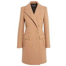 386b2676da6 Nueva llegada de invierno abrigo de lana para las mujeres 2019 elegante  chaqueta estilo militar camello