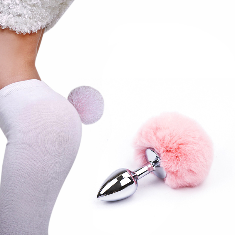 Rabbit Girl Tail Sex Toys Metal Plush Anal Plug <font><b>Cosplay</b></font> <font><b>Cute</b></font> Tail Anal Erotic Toy For Couples Man <font><b>Sexy</b></font> Women Intimacy Bdsm Sex image