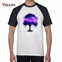 T Shirts Purple Galaxy Tree 3D Print Creative Graphic Tees Men Women Summer Casual Tops White  TShirt Unisex Cotton Top