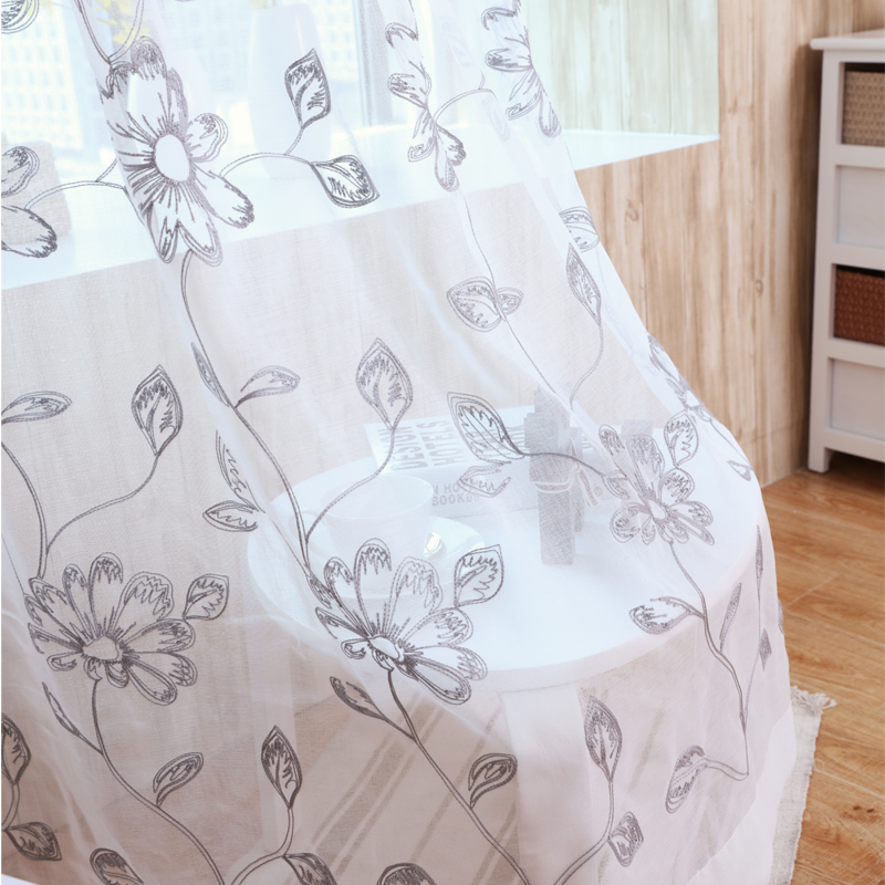 Embroidered Sheer Curtains White Window Tulle Home Decorative Flower Pattern Luxury Voile Living Room Bed