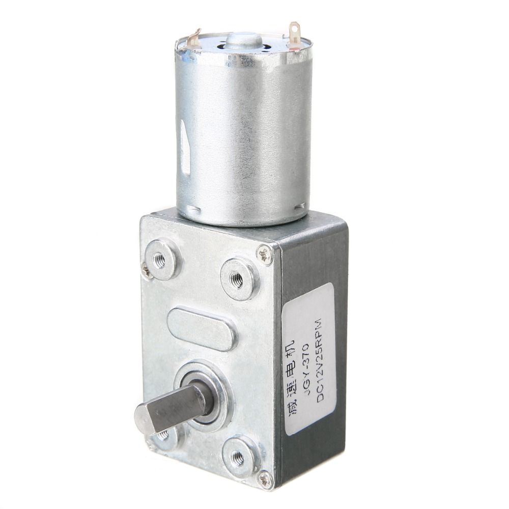12V 25RPM Geared Motor Metal Reversible Torque Turbo Worm Geared Reducer DC Motor GW370 стоимость