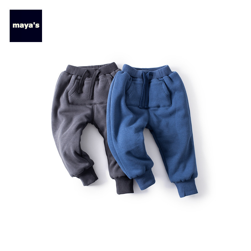 Mayas Cotton Fashion New Pocket Winter Boys Pants Autumn Warm Solid Color Thickening Girls Pants Kids Straight Basic Pants 81242