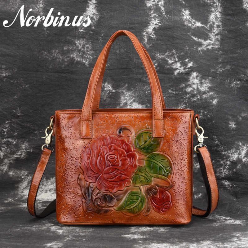 16d2c690881c Norbinus Для женщин из натуральной кожи Сумочка из натуральной кожи  Посланник Сумка Винтаж тиснением цветок сумка