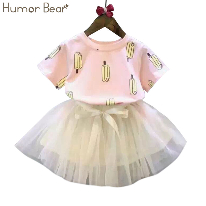 Humor Bear NEW girls clothes T-shirt + skirt 2pcs kids clothing set Girls Clothing Sets  Kids Clothes formal vocational education and training
