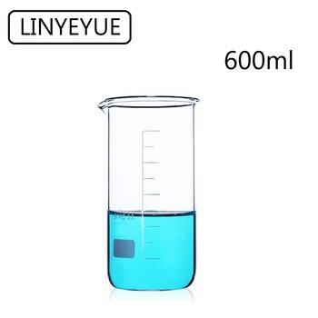 LINYEYUE 600mL Glass Beaker Tall Form Borosilicate high temperature resistance Measuring Cup Laboratory Equipment