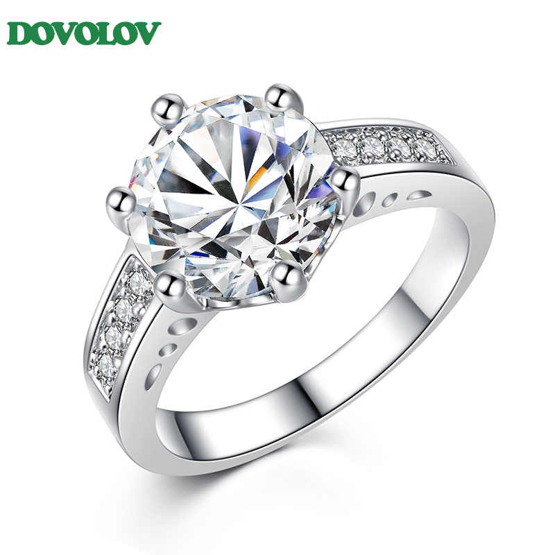 Dovolov Fashion  Elegant Temperament Wedding Ring Charming Jewelry Clear Real Rhodium Plated Women Accessary D3