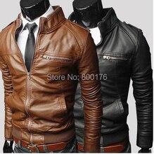 Freies verschiffen Leder Jacken Männer 2014 Neue Koreanische Art-männer schlanke Reißverschluss PU Ledermantel Tops von Oberbekleidung 3 Farben s-3xl