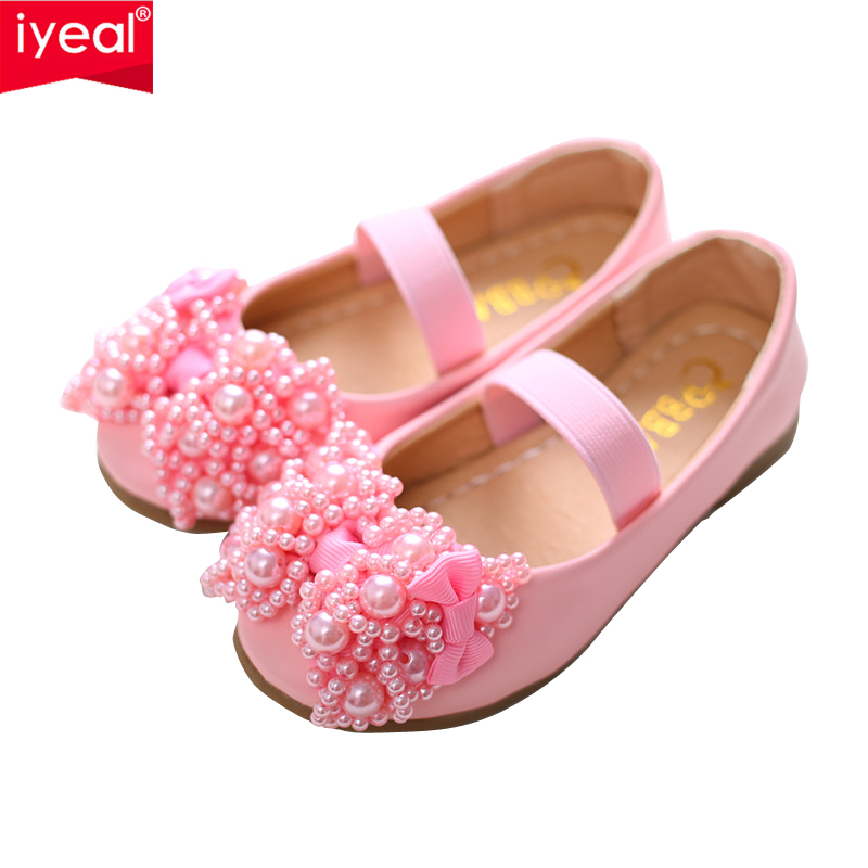 IYEAL New Luxury Children Princess Leather Party Shoes for Girls Flower Pearls Beaded Shoes Baby Girl Child Low Heel Dance Shoes