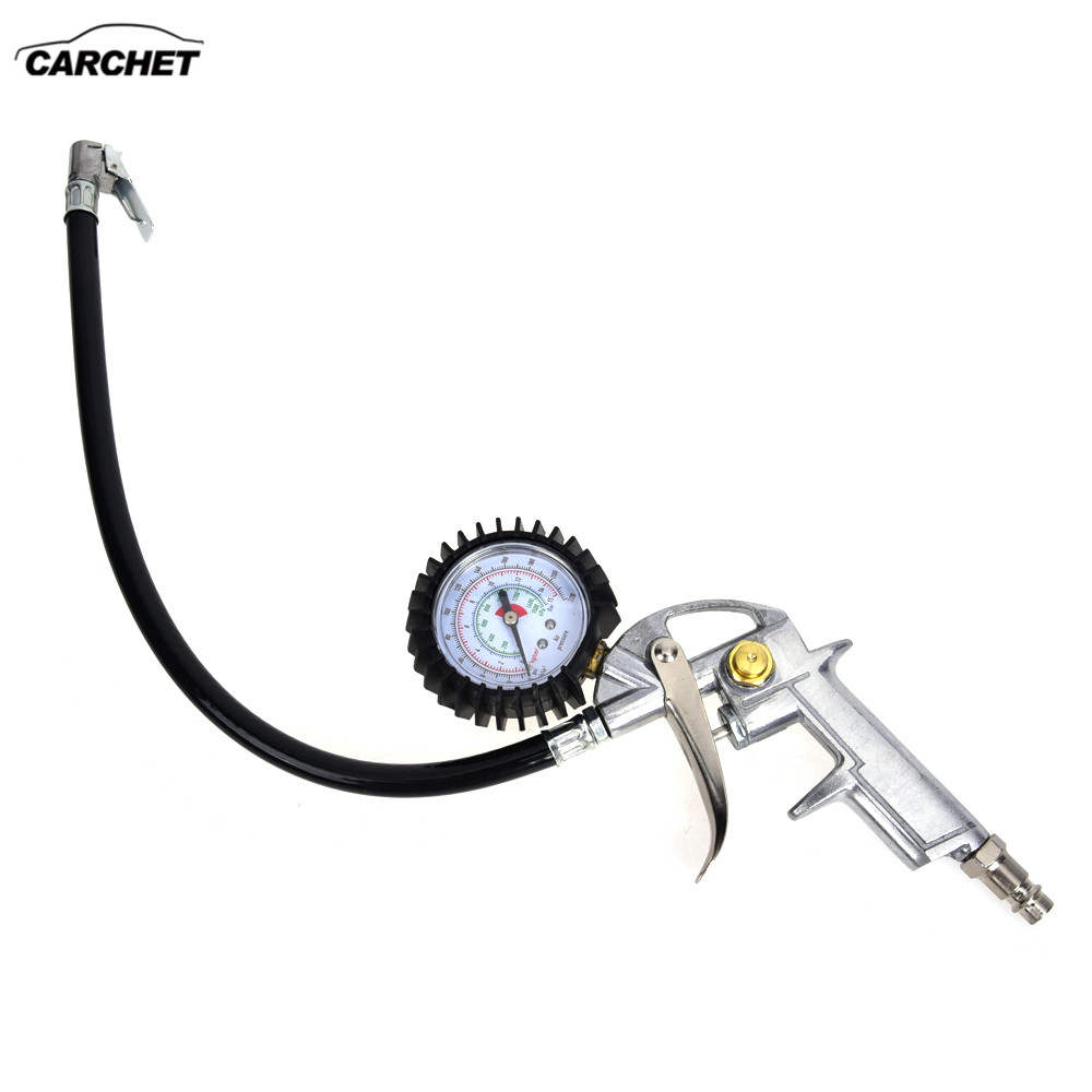 CARCHET Digital Tire Inflator Gauge 15BAR Tire Pressure Inflator Gun Dial AIR Release Button Silver EU Standard 220 PSI car tire pressure gauge tire pressure gauge with gas air pressure gauge for car fit for motorcycle bicycle type measure meter