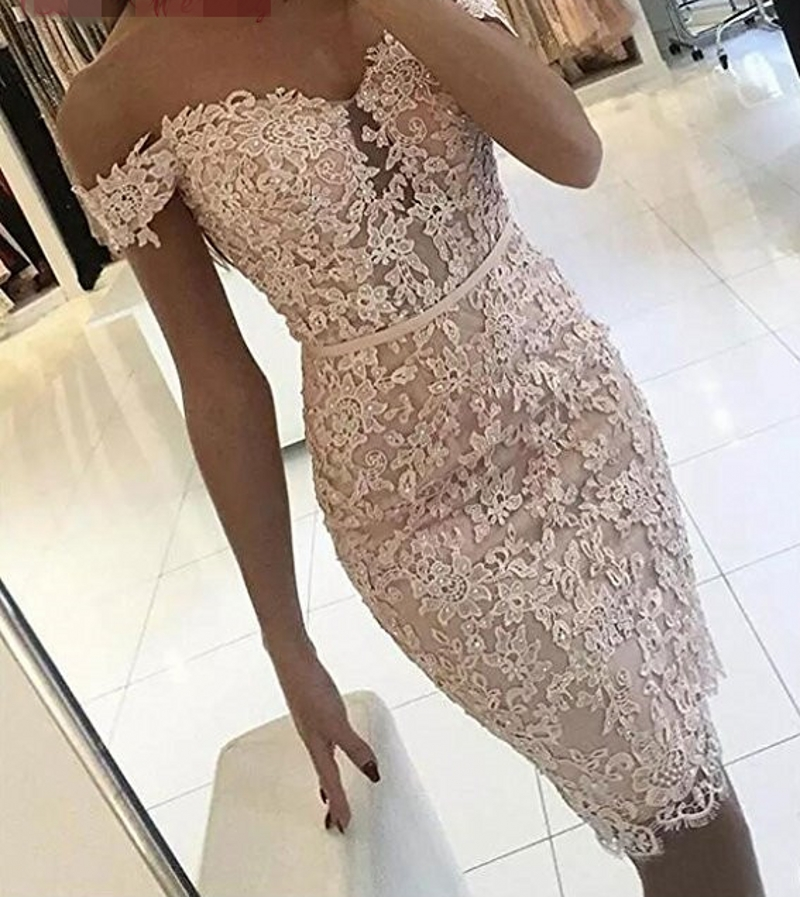 Hot New   Cocktail     Dresses   2019 V-neck Off the Shoulder Lace Applique Beaded Pink Lace Fashion Prom Party Abiye Vestidos
