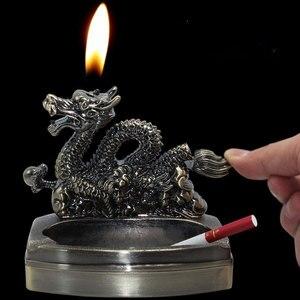 Image 2 - Cenicero灰皿詰め替えガスライターのfuction喫煙アクセサリーポータブルハロウィンたばこシガードラゴン灰皿