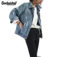 Geckoistail Phụ Nữ Mới Cơ Bản Áo Khoác Mùa Thu Và Mùa Đông Phụ Nữ Denim Jacket Cổ Điển Dài Tay Áo Lỏng Lẻo Nữ Jeans Coat Cô Gái Outwear