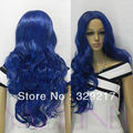 suyushun345184+++ Long Dark Blue Wavy Curly No Bangs Synthetic Hair Full Wig Cosplay 6.06