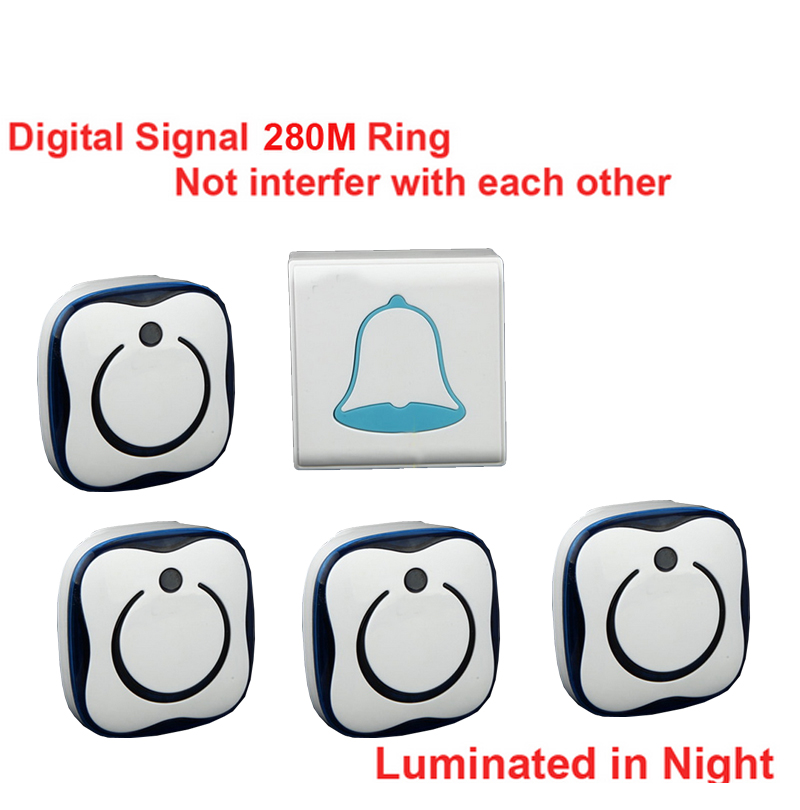 5 walls penetrate 4 receivers wireless doorbell,Waterproof 280M works wireless door chime,wireless bell,door bell 36 melodies ks v2 welcom chime bell sensor