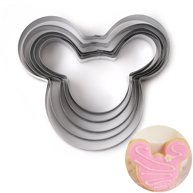 5 PCs/Set  Mickey cake mold Kitchen Bakeware Baking Tools  Biscuit Mickey  Cookie Cutter and Cookie Stamps