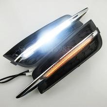 2x поворотов и затемнения стиль реле 12 В авто DRL дневного светодиодные фонари спереди противотуманные лампы для Chevrolet cruze (низкая) 10-14