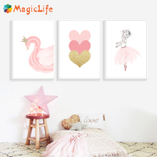 Kids Decoration Ballet Poster Pink Swan Decor Wall Art Canvas Painting Nordic Pictures For Living Room Unframed