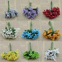 Umělé květinové poupě na tyčince – dekorace po 12 ks
